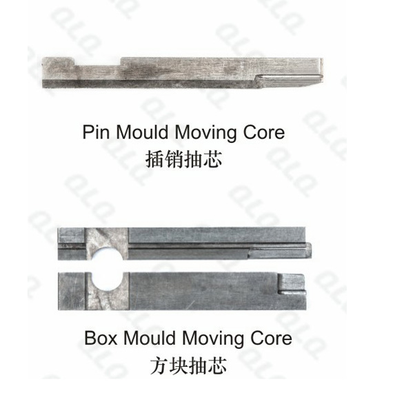Pin mould moving core